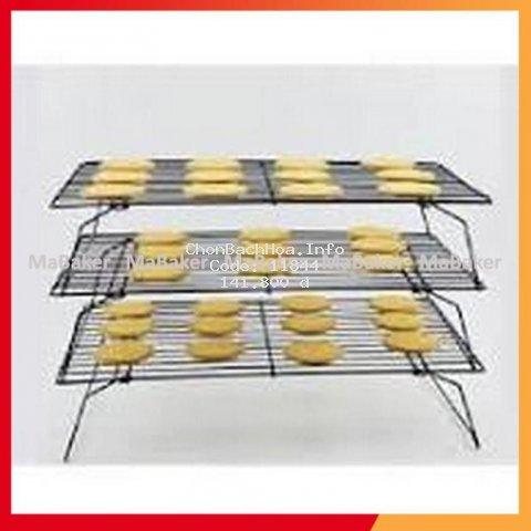 Rack phơi bánh 3 tầng cao cấp bằng thép xi mạ chống dính, cứng cáp, bền đẹp, an toàn, phơi mau khô - MaBaker