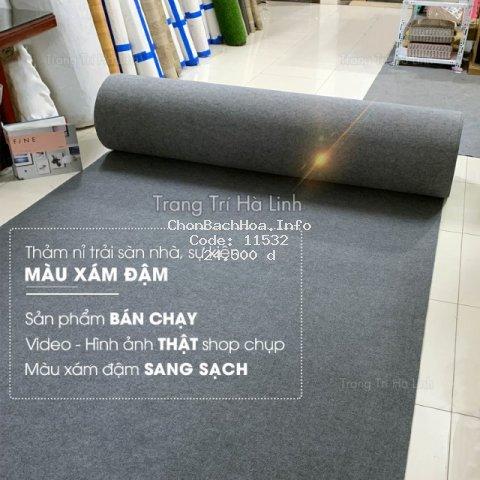 Thảm Nỉ Trải Sàn - Thảm Nỉ Lót Sàn Nhà Văn Phòng Sự Kiện Màu Xám Đậm NX01 Dày 3mm