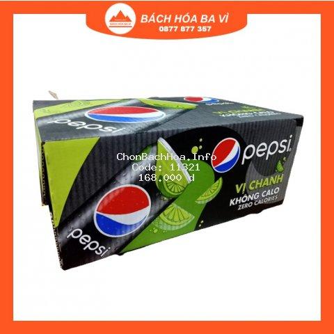 Thùng 24 Lon Pepsi Vị Chanh Không Calo 330ml