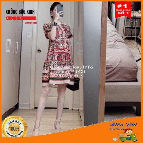 Váy bầu thời trang thiết kế M169 chất lụa hàn châu freesize từ 45 đến 70kg