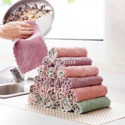 [1K- RẺ VÔ ĐỊCH] Khăn lau đa năng bếp, bát đĩa, cốc chén thấm nước chống dính dầu mỡ hai mặt loại to 15x26cm
