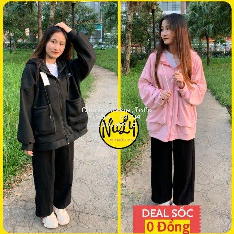 Áo hoodie Túi Hộp nữ, khoác nỉ bông tay bồng form rộng Ulzzang logo 266STUDIO siêu cute, NULY - HDTH