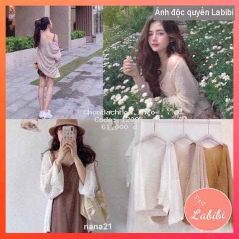 Áo Khoác Cardigan Len Dệt Kim, Áo Khoác Nữ Cardigan Mỏng Sexy, Labibi Closet