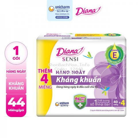 Băng vệ sinh Diana Sensi hàng ngày kháng khuẩn 40 miếng/gói