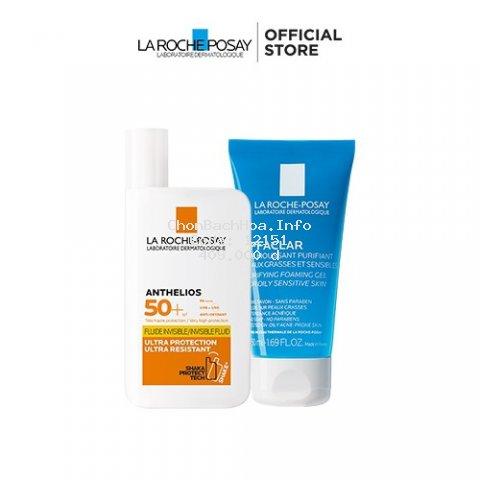 Bộ chống nắng không nhờn La Roche-Posay Anthelios Invisible Fluid 50ml & Gel rửa mặt cho da mụn 50ml