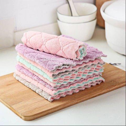 Combo 5 khăn lau đa năng vệ sinh nhà cửa bàn bếp chất liệu cực mềm siêu thấm làm sạch mọi bề mặt gương kính ô tô