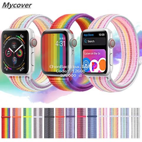 Dây đai đeo đồng hồ  Apple Watch Serise 6 SE 5 4 3 2 1 kích thước 44mm 40mm 42mm 38mm bằng nylon họa tiết cầu vồng