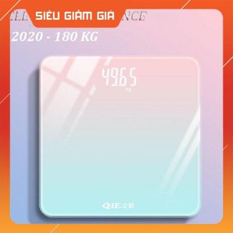 [GIÁ SIÊU SỐC] Cân Điện Tử Cân Sức Khỏe Màn Hình Led Sạc Pin Dùng Pin Gia Đình Kính Cường Lực Tải Trọng 180kg