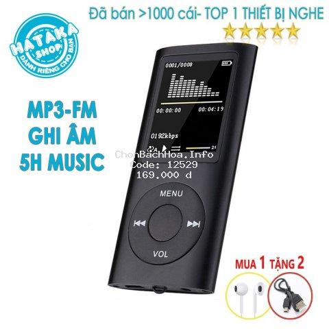 Máy nghe nhạc mp3 BTS-tặng tai nghe, dây sạc-chức năng FM, ghi âm, xem ảnh, đọc sách