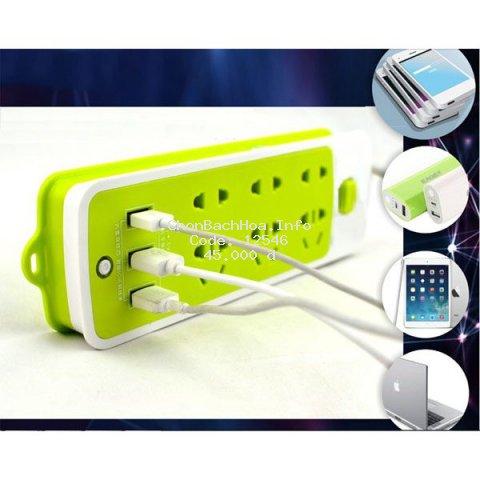 Ổ CẮM ĐIỆN THÔNG MINH - CHỐNG GIẬT - 6 CỔNG -3 CỔNG USB