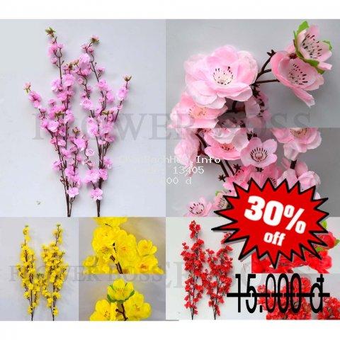 1 cành hoa mai, hoa đào giả 5 nhánh cao 1m - Trang trí tết