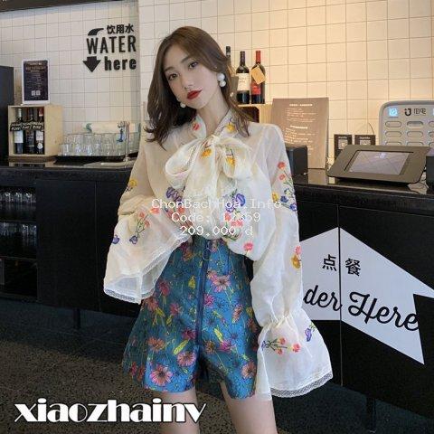 Áo kiểu tay phồng cổ thắt nơ thêu họa tiết / Quần short ống rộng lưng cao phong cách Hàn Quốc cho nữ