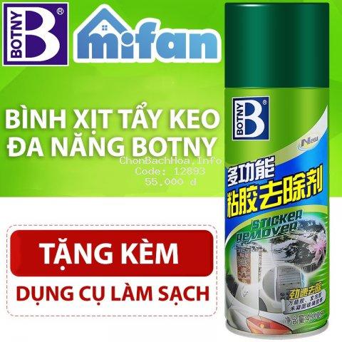Bình Xịt Tẩy Keo Băng Dính BOTNY Sticker Remover  - Làm sạch vết băng dính keo dán mọi bề mặt - MIFAN HÀNG CHÍNH HÃNG