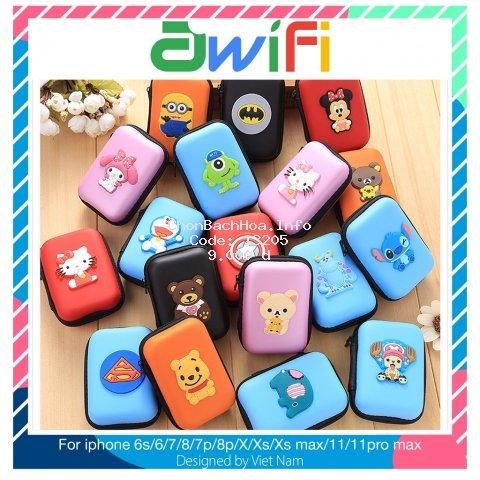 Bóp đựng tai nghe cáp sạc hình thú mẫu hình chữ nhật (6x10cm) - Awifi Case H1-3