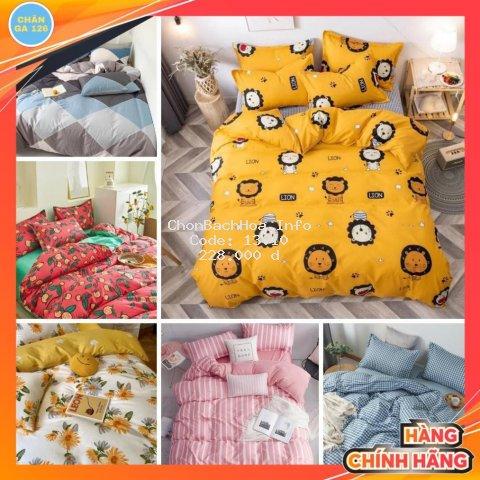 Chăn Ga Gối Đệm Cotton 90% Gồm 4 Món Vỏ Chăn, Ga , 2 Vỏ Gối (Inbox Chọn Mẫu) Bedding 126