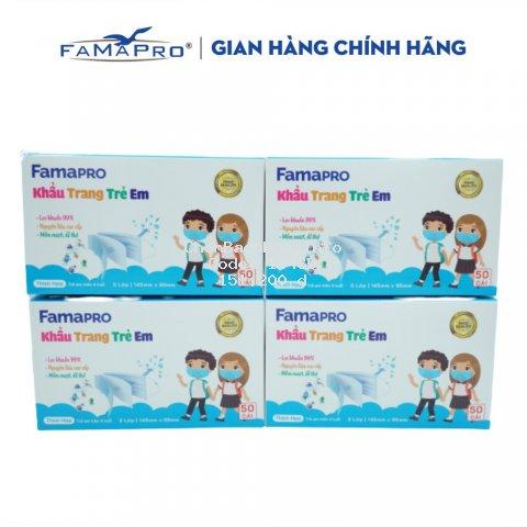 Combo 4 hộp khẩu trang y tế trẻ em kháng khuẩn 3 lớp Famapro max kid ( 50 cái /hộp )