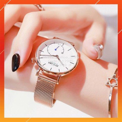 Đồng hồ nữ, Đồng Hồ Nữ Chính Hãng, dây thép lưới JENISES, Quyến Rũ, Chống xước, chống nước bảo hành 1 năm