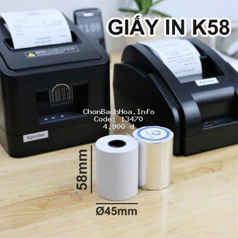 Giấy in Hóa Đơn in Bill K58 K58x45 - Giấy in nhiệt khổ K57 - 57mm dùng cho máy POS bán hàng