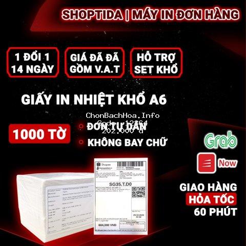 Giấy in nhiệt Shoptida A6 - 1000 Tờ dùng in đơn hàng, tem, mã vạch, phiếu gửi hàng, decal, dán, dùng cho máy in nhiệt