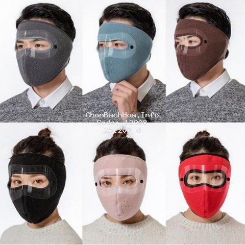 Khẩu trang ninja lót nỉ siêu ấm kèm kính chắn gió mưa bụi tiện lợi