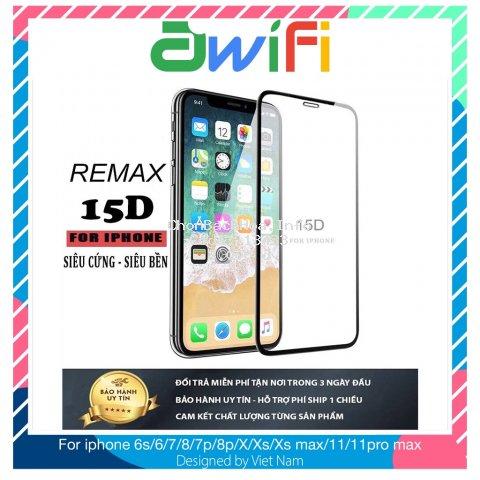 Kính cường lực iphone 15D Remax Full màn 6/6plus/6s/6splus/7/7plus/8/8plus/x/xr/xs/11/12/pro/max/plus/promax -Awifi F1-1
