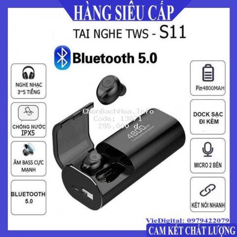 Tai Nghe Bluetooth, Tai Nghe Không Dây 5.0 Kiêm Sạc Dự Phòng S11 Chất Lượng Cao, Chống Nước IPX5, Chống ồn.