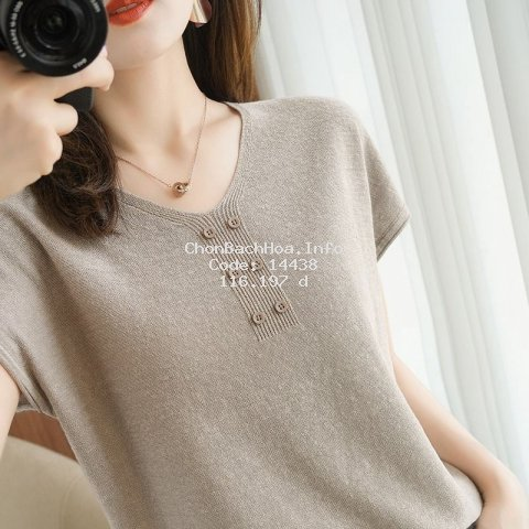 Áo thun cổ chữ V dáng rộng bằng lụa mát màu trơn tay ngắn đơn giản thời trang mùa hè cho nữ