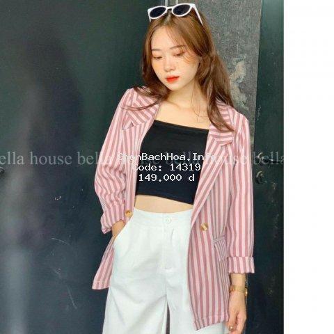 Áo vest nữ kẻ sọc 2 màu hồng - xanh kiểu hàn quốc siêu xinh