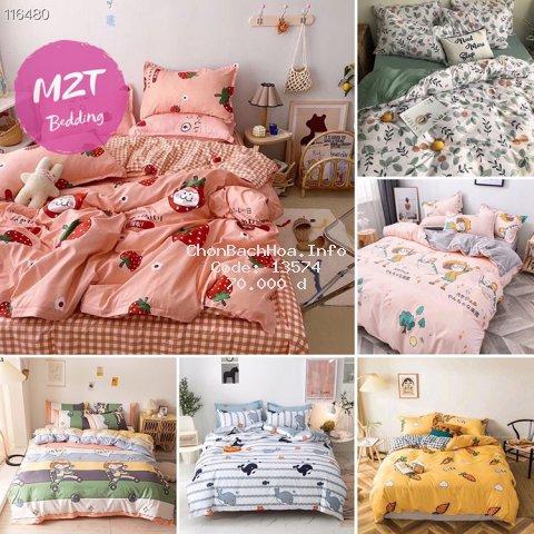 Bộ chăn ga gối Cotton poly đáng yêu M2T Bedding chăn ga Hàn Quốc đủ size miễn phí bo chun