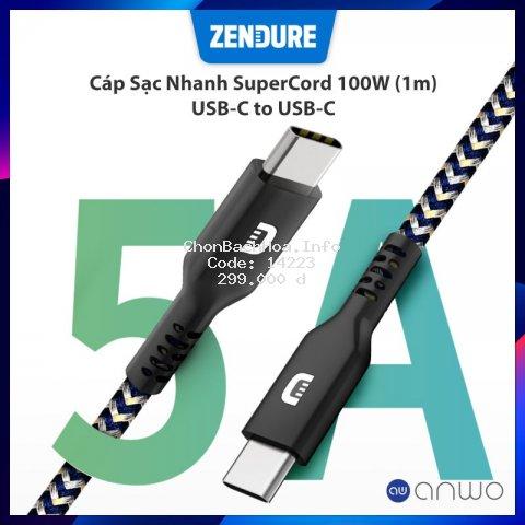 Cáp Sạc Nhanh USB-C To USB_C Zendure SuperCord Hỗ Trợ Sạc Nhanh PD 100W Sử Dụng Được Cho Macbook, Huawei, Xiaomi
