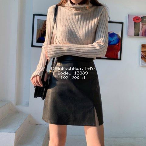 Chân Váy Da Pu Xẻ Tà Thời Trang Hàn Quốc Cá Tính Cho Nữ