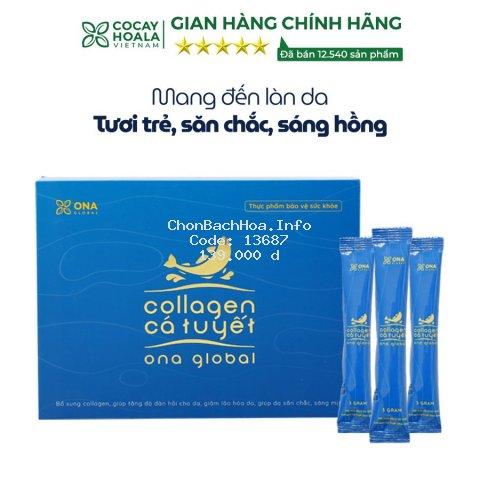 Collagen cá tuyết Cocayhoala làm đẹp da, da săn chắc, căng bóng ngậm nước ẩm mượt hộp 30 gói