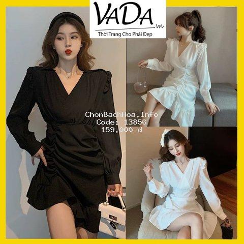 ĐẦM dự tiệc dáng suông đẹp cao cấp, phần vai và lai váy bèo nhúng xinh yêu, có 2 màu trắng đen giá rẻ VADA.vn - VD 012