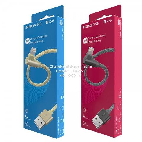 Dây Cáp Sạc Góc Vuông Dây Dù Chống Rối Tiện Dụng BOROFONE BX26 Cổng Lightning , Type C , Micro USB
