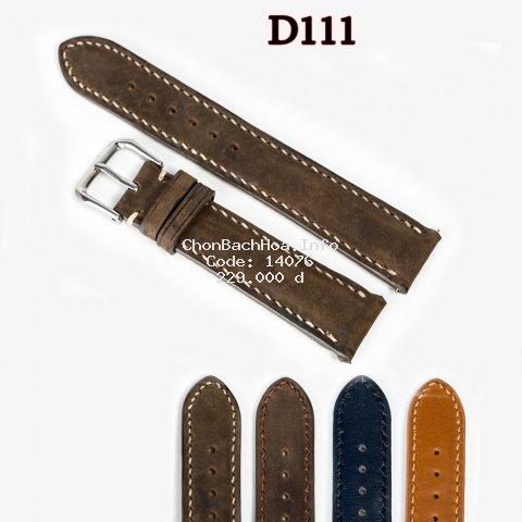 Dây da đồng hồ nam da bò Vintage-khâu tay thủ công D111 size 18mm, 20mm, 22mm, 24mm-Bụi leather