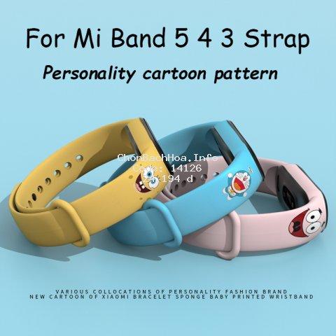 Dây Đeo Thay Thế In Họa Tiết Dễ Thương Cho Đồng Hồ Thông Minh Mi Band 5/ Mi Band 4/ Mi Band 3