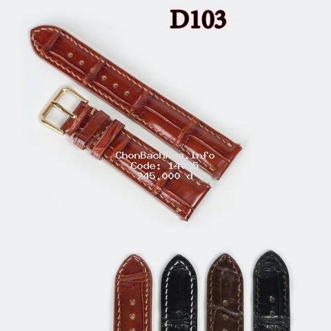 Dây đồng hồ da cá sấu đốt tre-khâu tay thủ công D103 size 18mm, 20mm, 22mm, 24mm-Bụi leather