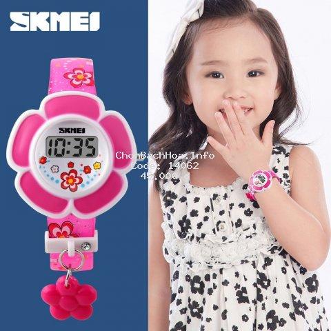 Đồng hồ đeo tay kỹ thuật số SKMEI bằng nhựa thiết kế hình bông hoa 3D cho bé trai và bé gái