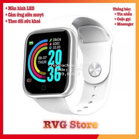 Đồng hồ thông minh LED và cảm ứng siêu mượt, hiển thị Cuộc gọi, Tin nhắn, Messenger, Theo dõi sức khoẻ, hàng công ty