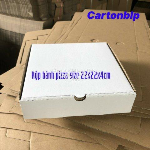 hộp carton đựng bánh pizza size 22x22x4cm màu trắng