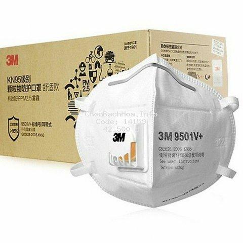 Khẩu Trang 3M 9501V+ Có Van Thở Chống Bụi Mịn Pm2.5 Tiêu Chuẩn KN95