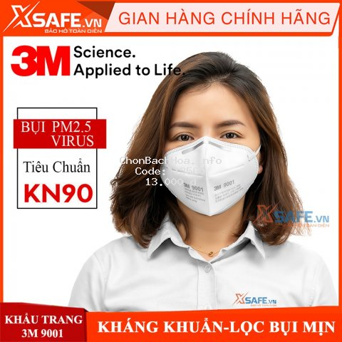 Khẩu trang chống bụi mịn 3M 9001A khẩu trang lọc bụi PM2.5 cơ chế lọc vải không dệt cùng màng lọc tĩnh điện