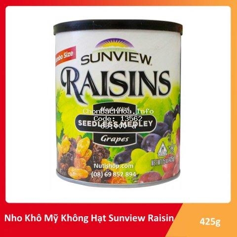 [Mã GRO0202 hoàn 8% đơn 300K] Nho Khô Mỹ Raisin Sunview không hạt vị thập cẩm 425g