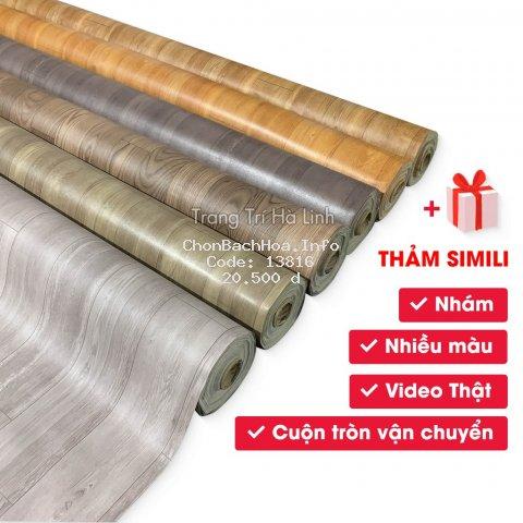 Simili trải sàn nhà , thảm nhựa trải lót nền giả vân gỗ PVC nhám - Trang Trí Hà Linh
