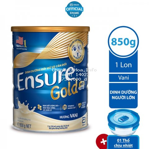 [Tặng 01 Thố chịu nhiệt] Sữa bột Ensure Gold Vani (HMB) 850g/lon