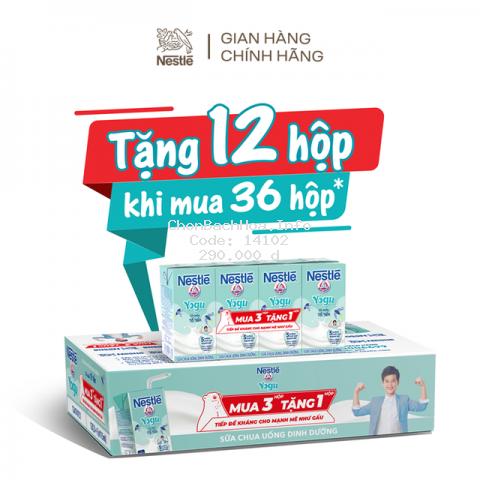 [TẶNG 12 HỘP khi mua 36 hộp] Thùng 48 hộp Sữa chua Tổ Yến Nestlé Yogu 48x115 ml