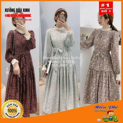Váy bầu thời trang thiết kế M151 chất lụa hoa freesize từ 45 đến 70kg