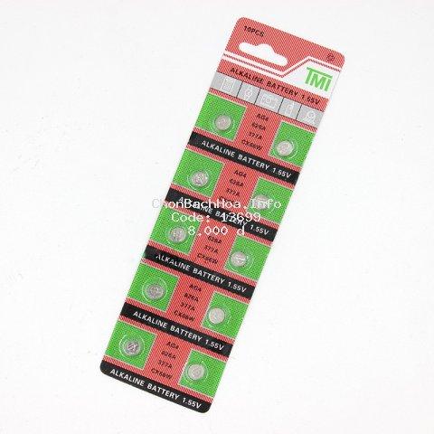 Vỉ 10 Pin cúc áo LR626SW/AG4/377A/CX66W dùng cho đồng hồ đeo tay 3 kim