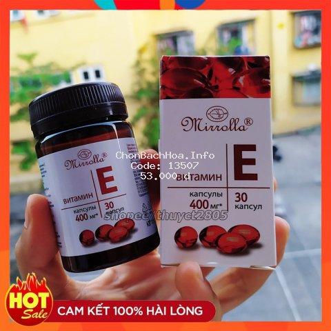 Vitamin E Đỏ Nga MIRROLLA Hàm Lượng 400mg Và 270mg Giúp Trống Lão Hóa, Làm Đẹp Da, Sáng Da, Giúp Da Căng Bóng