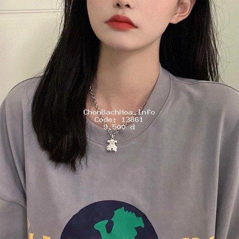 Vòng cổ mặt hình gấu thời trang Hàn Quốc xinh xắn
